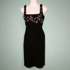 Ann Taylor Floral Embroidered Black Dress Size 2